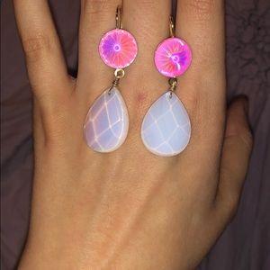 Pink and Opalescent Moon Tear Drop Dangle Earrings